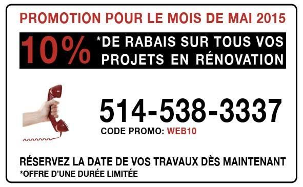 Promotion Projets de Rénovation - Rabais Mai 2015